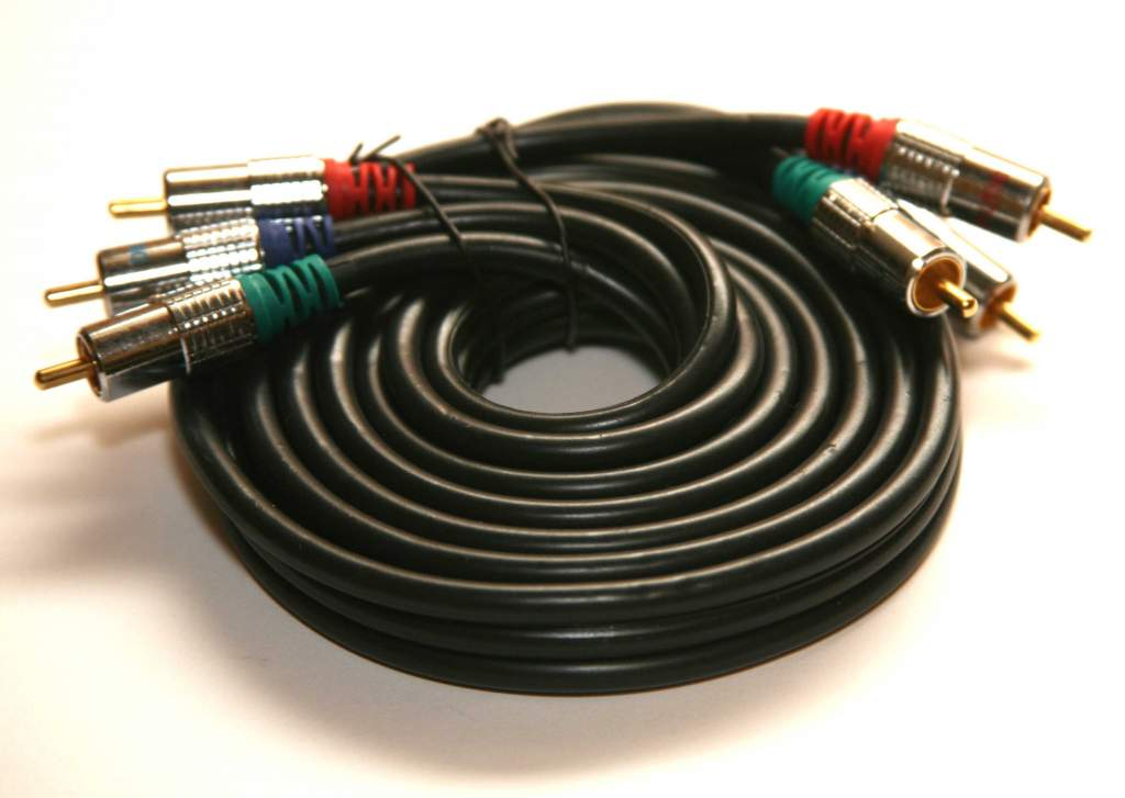 Component 6ft Black Cable Triple RCA Shielded Metal Connectors