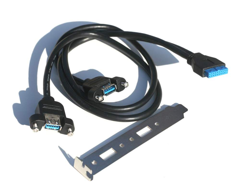 USB 3.0 Panel Mount Dual Port to 20 Pin Mainboard (24in)